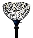 Amora Lighting Tiffany Style Floor Lamp Torchiere Standing Vintage Antique 72' Tall Stained Glass White Mahogany Traditional Peacock Light Decor Bedroom Living Room Reading Gift AM275FL12B