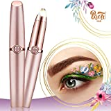 Eyebrow Trimmer for Women and Men, Eyebrow Hair Remover, Painless Portable Precision Electric Eyebrow Hair Trimmer, Eyebrow Hair Removal Razor With Light, Rose Gold (Batteries Not Included)