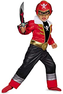 Disguise Saban Super MegaForce Power Rangers Red Ranger Toddler Muscle Costume, Small/2T
