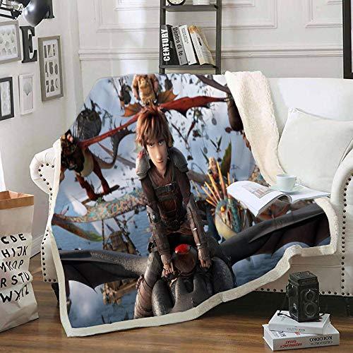 LIFUQING So Trainieren Sie Ihre Dragon Tagesdecke Decke Sofa Sherpa Decke Adult-150X200Cm