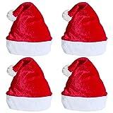 Sombrero de Santa 4 Piezas Unisex Sombreros Rojos de Navidad Sombrero de Felpa de Invierno de Terciopelo Espesar Extra Fiesta de Navidad Gorro de Confort Suministros de Fiesta Festiva de año Nuevo