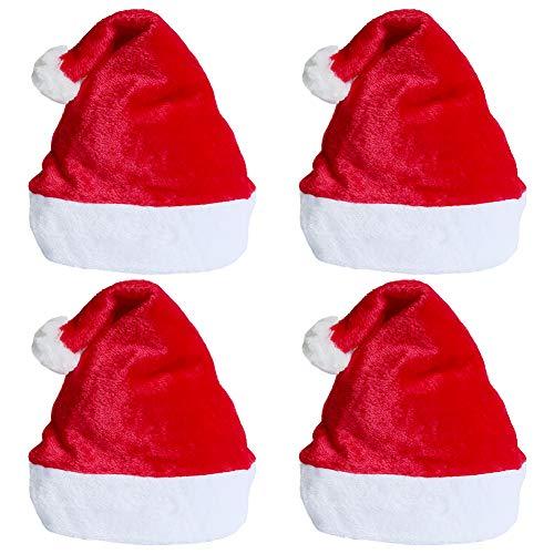 Weihnachtsmütze 4 Stück Unisex rot Weihnachten Hüte für Erwachsene und Kinder Samt Winter Plüschhut Extra verdicken Weihnachtsfeier Comfort Cap Neujahr Festliche Holiday Party Supplies