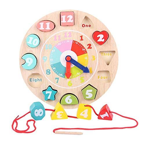 Soul hill Puzzle Holzblock Holzspielzeug Threading Kinder Gewinde Perlen Bildung Holz Linear Spielzeug Farbe Klassifizierung Uhr (Farbe: Mehrfarbig, Größe: 23.5x23.5cm)