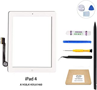 JPUNG Screen Replacement for iPad 4th, only for A1458,A1459,A1460, with Home Button, Complete Repair Tools Kit, Camera Holder, Pre-Installed Adhesive - 365 Days Warr