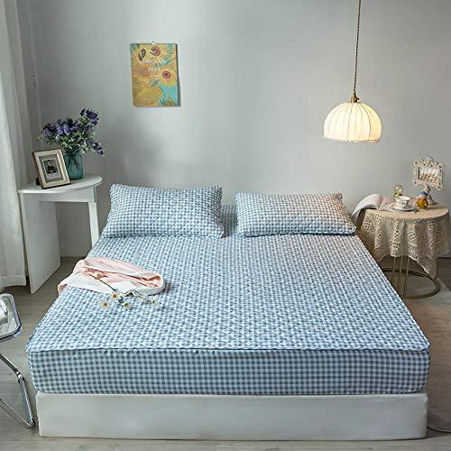 FJMLAY Bedsure Sabanas Bajeras Ajustables -,Sábanas de Cama Acolchadas cepilladas, protección Antideslizante para el Dormitorio Apartment-Blue_2_200cmx220cm