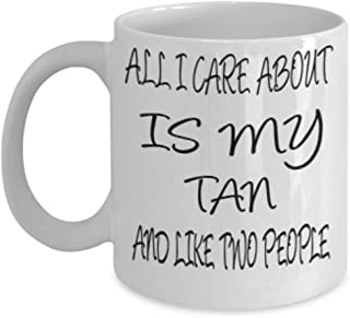 Tan Gifts 11oz Coffee Mug - All I Care About - For Mom and Dad Cup for Coffee or Tea Cats Lover ak7763