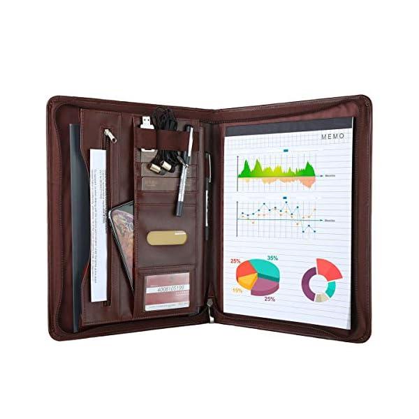 51ecVX5+AyL. SS600  - Leathario Portafolio de Carpeta Portadocumentos A4 Organizadora Oficina Personal para Conferencias de Negocio PU de Viaje con Cremallera y Calculadora (Marrón y rojo)