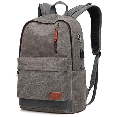 Canvas Laptop Backpack, Waterproof School Backpack With USB Charging Port For Men Women, Vintage Anti-theft Travel Daypack College Student Rucksack Fits up to 15.6 inch Computer(Gray)