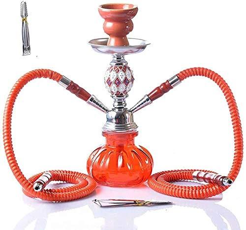Enjoy4Health Juego de 2 mangueras para shisha y shisha con pinzas para shisha y cuenco de cerámica para mejor fumar narguile (color: A)
