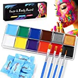 ETEREAUTY Face Body Paint, Face Painting Kits for Kids and Adults with 12 Colors, 5 Disposable Towels, 4 Brushes, Cosplay Makeup for Sensitive Skin, Easy on/off