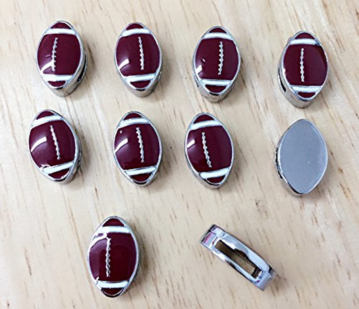 PEPPERLONELY 10PC Football Slider Charms 8mm