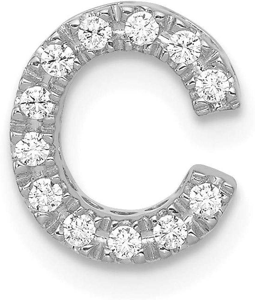 14k White Gold Diamond Limited price sale Charm New sales C Pendant Initial