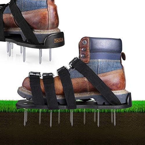 TACKLIFE Zapatos Jardín de Césped, con 4 Correas Ajustables, Hebillas de Aleación de Aluminio, Plástico Resistente, GAS1A