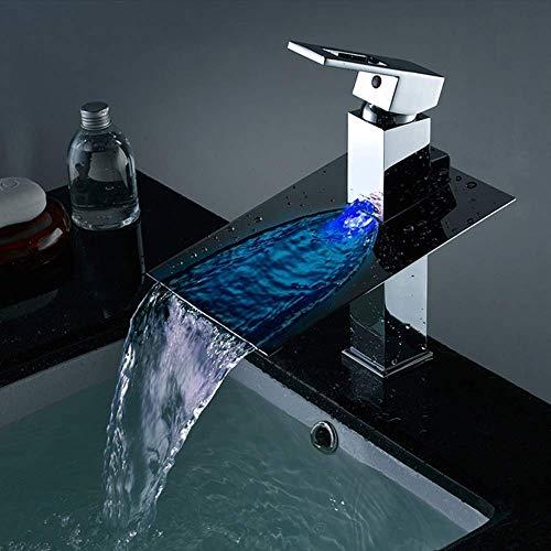 FHISD Moderno LED Cascada Baño Grifo de Lavabo y Lavabo de Mesa de Cobre frío Control de Temperatura de Cascada de Agua Juego de grifos de luz de Color Hermosa práctica