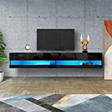 YAYUNLVYIN Seattle Wall Mounted Floating 80' TV Stand/TV Entertainment Center/with 20 Color LEDs/Floating TV Media Console Color (Black)