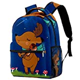 Students Backpack Elk Playing the Violin Casual backpack for Girls and Boys Bookbag