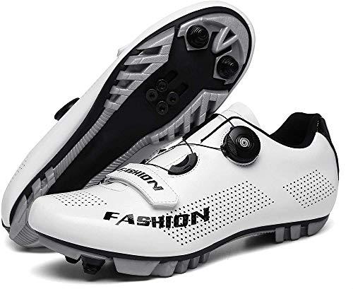 WYUKN Herren Damen MTB Radschuhe SPD Mountainbike Schuhe Atmungsaktive Outdoor Fahrradschuhe Mit SPD Stollen,White-A-39=(245mm)