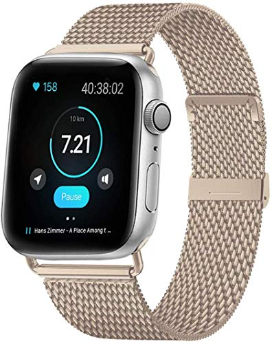 HILIMNY Compatible Correa para Apple Watch 38mm 40mm 42mm 44mm, Malla de Acero Inoxidable Correa de Bucle con, para iWatch Serie 5/4/3/2/1, Sport, Edition
