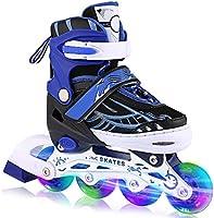 WeSake Inline skates voor kinderen, jongens, meisjes, instelbare rolschaatsen, kinderen met lichtgevende PU wielen...