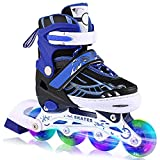 ANCHEER Inline Skates for Kids, Adjustable with Light Up Wheels Beginner Roller Fun Flashing Illuminating Roller Skates for Kids Boys and Girls 2 Colors and 3 Sizes