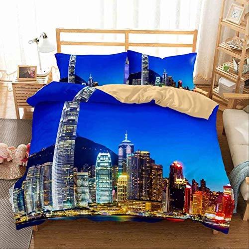 WGLG Double Bed Duvet Sets, 3D Print European Black Car Scenery Bedding Home Textiles Duvet Cover And Pillowcase