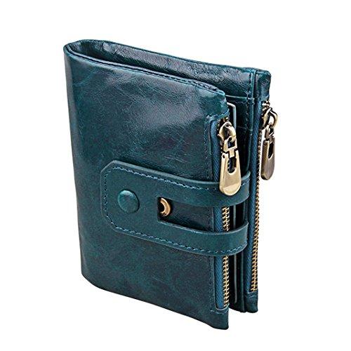 Anslove, portafoglio di alta qualità, in pelle, sottile, con protezione anti-RFID e doppia chiusura a cerniera, scomparti per le monete e le carte di credito, unisex, Style#6