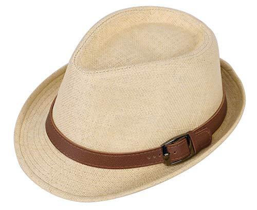 EPGU Men Womens Casual Structured Straw Fedora Hat w/PU Leather Strap,Natural,59cm