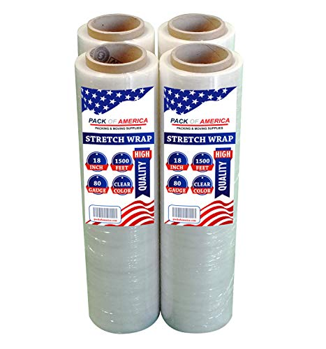 """Stretch Wrap Industrial Strength 1500ft x 18"""" by PACK of AMERICA Plastic Shrink Wrapping Film, Packing & Moving Supplies, Pallets, Furniture, Boxes, Shipment Protection (4 Pack Clear 3"""" Core 80 Gauge)"""