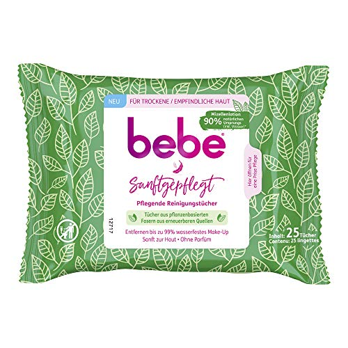 bebe Toallitas limpiadoras de cuidado suave, toallitas desmaquillantes suaves hechas de fibras vegetales de fuentes renovables para pieles secas y sensibles (1 x 25 toallitas).