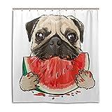 Lafle wasserdichte Duschvorhänge Lustiger Mops H& Essen Wassermelone Home Decor Badezimmer Vorhang mit 12 Haken, 167 x 182 cm