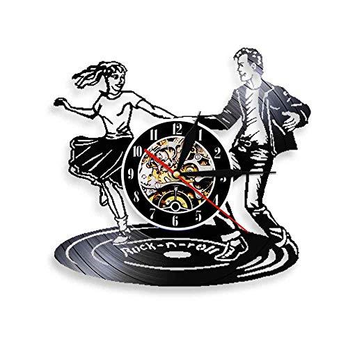 Enofvd Bailarina Reloj de Pared música Rock Tiempo de Baile Disco de Vinilo Vintage Reloj de Pared Colgante de Pared Art Deco Discoteca Bar 12 Pulgadas