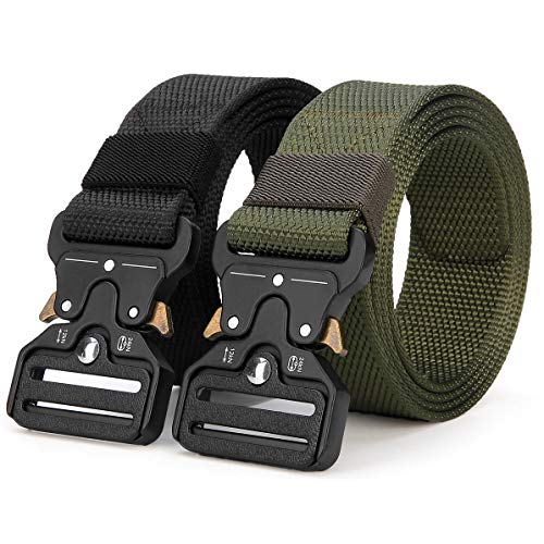 """ANDY GRADE Tactical Belts for Men Nylon Adjustable Military Belts Webbing Waist Belt (Style 2 - Black + Army Green (2 Pack), S - Length 45 inch, fits Waist 30""""-36"""")"""