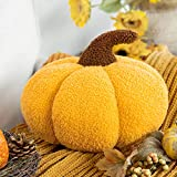 Phantoscope Halloween & Thanksgiving Teddy Fleece Pumpkin Throw Pillows Ultra Soft Sherpa Decorative Cute 3D Shaped Cushion, Yellow, 6 x 12 inches