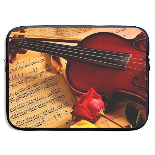 Funda Impermeable para portátil de 15 Pulgadas, maletín de Negocios con Estampado de violín, Bolsa Protectora, Funda para Ordenador BAG-2468