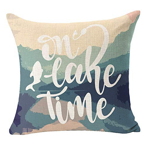 "Mountain Lake Forest On Lake Time Fun Quote Fishing Hook Best Gift for Camping Travel Lake Outdoor Cotton Linen Square Throw Pillow Case Decorative Cushion Cover Pillowcase for Bed Coach Sofa 18""x 18"""