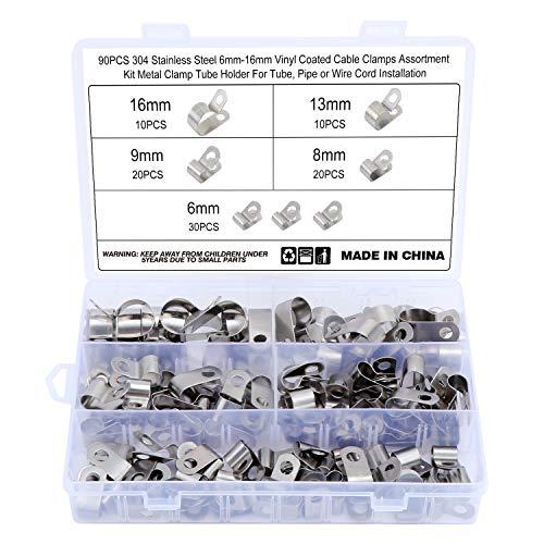 HSEAMALL 90 abrazaderas de cable con revestimiento de vinilo de acero inoxidable 304, 6 tamaños de 6 mm a 16 mm de metal tipo R, clips P para montaje de cable abrazadera de manguera