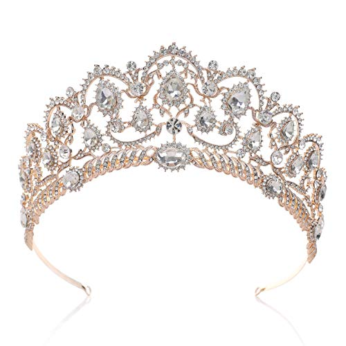 SWEETV Rose Gold Wedding Tiaras and Crowns for Women, Rhinestone Queen Tiara Headpieces for Women Crystal Hair Accessories