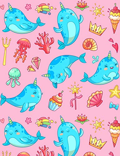 Narwhal Notebook: Super Kawaii Pink Narwhals Giant Notebook 300 Page Journal with Cupcake Rainbow Heart Crown Shell Magic Wand Ice Cream Shooting ... Thick Notepad for Girls Boys Kids (8.5 x 11)