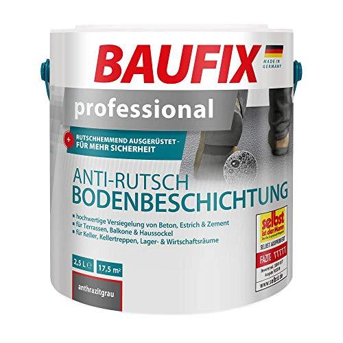 BAUFIX professional Anti-Rutsch-Bodenbeschichtung anthrazitgrau, 2.5 Liter, rutschhemmend, wasserbasierte Anti-Rutsch-Bodenfarbe für Beton, Estrich, Zement, für innen und außen geeignet