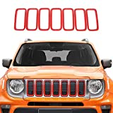 CKPEOR Parrilla Frontal de 7 Piezas Inserciones de la Cubierta de la Parrilla ABS para el Jeep Renegade 2019 2020,Rojo