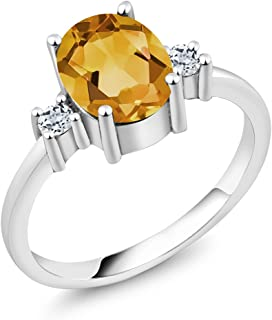 Sterling Silver Oval Yellow Citrine and White Topaz Women's 3-Stone Ring (Available 5,6,7,8,9)