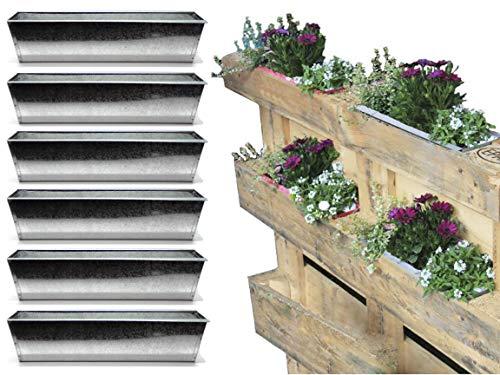 Bada Bing 6er Set Pflanzkasten für Palette Verzinktes Metall Blumenkasten Zink Einsatz für Europalette Pflanztopf Kräuterkasten Pflanzschale Deko Garten Trend 47