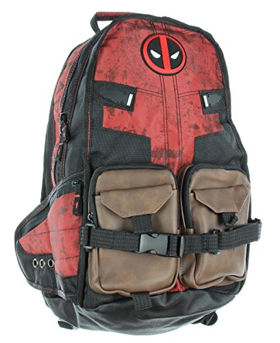 deadpool laptop bag with extra pouches and buckle