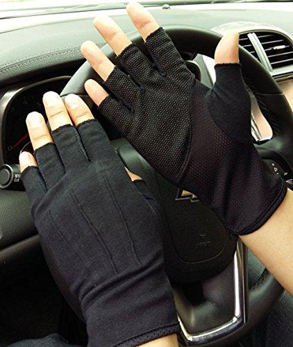 BXT Männer Halbfinger Fahrradhandschuhe Dünnen Radsport Baumwollhandschuhe Sport Gym Fitness Workout Fingerlose Anti-Rutsch Silikon Fingerlos Reiten Motorrad Handschuhe
