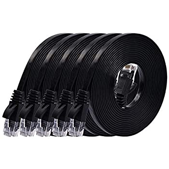 Cat 6 Ethernet Cable 10 ft  5 Pack   at a Cat5e Price but Higher Bandwidth  Flat Internet Network Cables - Cat6 Ethernet Patch Cable Short - Black Computer Cable with Snagless RJ45 Connectors