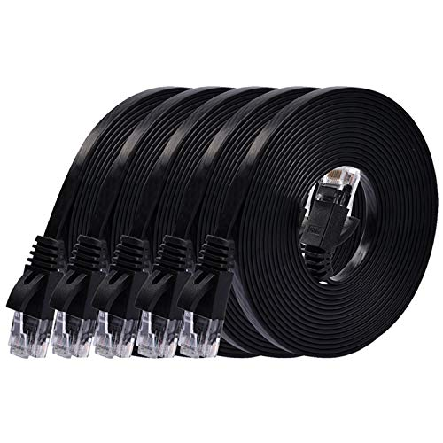 Cat 6 Ethernet Cable 10 ft (5 Pack) (at a Cat5e Price but Higher Bandwidth) Flat Internet Network Cables - Cat6 Ethernet Patch Cable Short - Black Computer Cable with Snagless RJ45 Connectors