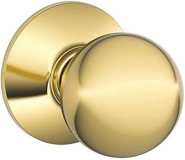 Schlage F10ORB605 Orbit F10 Full Ball Door Knob Lockset, Unkeyed, Solid, Bright Brass