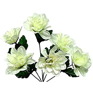 Cream/Ivory 6 Head 3″ Dahlia Artificial Silk Flowers Wedding Bouquet Centerpiece Fake Faux, for Wedding Supplies