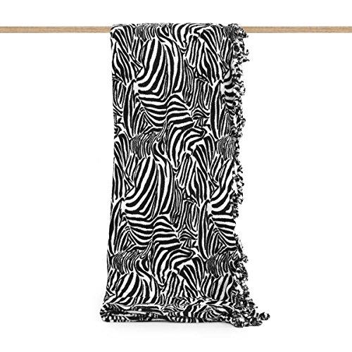 Plaid Zebrato in Pile con nappe 210x240 cm Matrimoniale effetto pelliccia N791