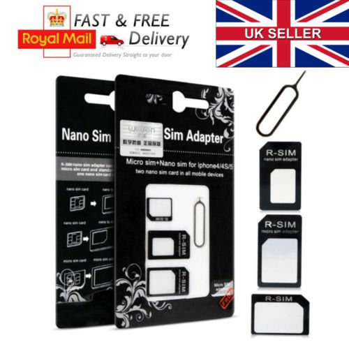 Tech Traders® 4in 1Nano Sim Card Adapter Konverter Micro & Standard SIM Karte für iphone 6544S 3G 3GS iPad 1,2,3Tablet Smartphones + Gratis Iphone Tablett öffnen Eject Pin Tool